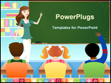 PowerPoint Template - teacher in classroom teaching young students in preschool or elementary school setting