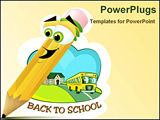 PowerPoint Template - A cartoon of a pencil that is very happy that he is writing something on a piece of paper