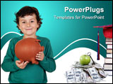 PowerPoint Template - Adorable boy with big piggy bank isolated over white