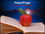 PowerPoint Template - Red Apple with Green Leaf on Open Book and blue spotlight background