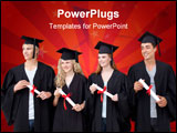 PowerPoint Template - Happy group of people celebrating after Graduation