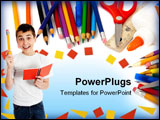 PowerPoint Template - Happy student holding a notebook and pencil