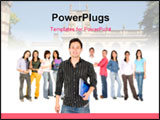 PowerPoint Template - Casual man with a group of college students smiling - isolated over a white background