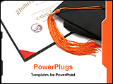PowerPoint Template - college diploma certificate with cap