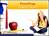 PowerPoint Template - a student with many books , pencil and apple