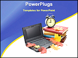 PowerPoint Template - image showing laptop, pile of notebooks, books, alarm clock and olive leaves