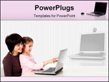 PowerPoint Template - small girl working on laptop