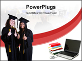PowerPoint Template - beautiful smiling excited happy teen girl graduates isolated