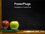 PowerPoint Template - rea and green apple on chalkboard ledge at school, add text to chalkboard