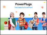 PowerPoint Template - lovable students, children over a white background