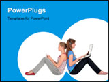 PowerPoint Template - Girls using laptop and listening to music on MP3 player