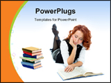 PowerPoint Template - Young beautiful student girl reading a book