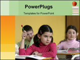PowerPoint Template - Girl in classroom writing during class in school