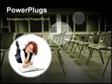 PowerPoint Template - Girl potrait in empty classroom