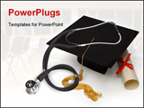 PowerPoint Template - Mortar board, diploma and stethoscope on white