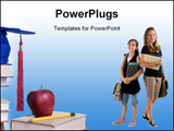 PowerPoint Template - . Education learning teaching. A young girl thinks about her future.