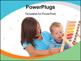 PowerPoint Template - Mother and 3-4 years old boy with big abacus isolated on white