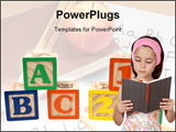 PowerPoint Template - adorable girl reading a book a over white background