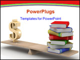 PowerPoint Template - Sign dollar and the books on scales