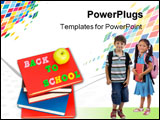 PowerPoint Template - Back To School Concept With Books And Apple