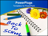 PowerPoint Template - A notebook with back to school words