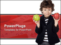 PowerPoint Template - adorable child with two apples in the hands a over white background
