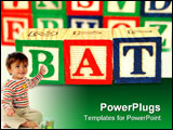 PowerPoint Template - wood toy blocks spell the word bat