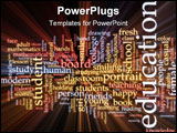 PowerPoint Template - Word cloud concept illustration of education studies glowing light effect