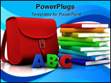 Red satchel and stack of colorful books - 3D illustration/rendering