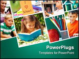 PowerPoint Template - Collage of schoolchildren in studying process and education objects