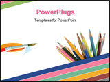 PowerPoint Template - Color pencils isolated on pure white background
