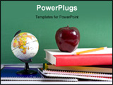 PowerPoint Template -  stack of school books and an apple and a miniature globe in front of a blank chalkboard or blackbo