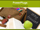PowerPoint Template - Satchel and books next to a blackboard with the words stay focused