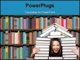 PowerPoint Template - Happy laughing woman in house made of pile of books