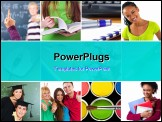 PowerPoint Template - Education concept. Group of carefree teenagers