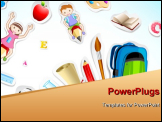 PowerPoint Template - illustration of education object with kids flying on pencil