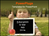 PowerPoint Template - ducational software, games, entertainment etc. he is giving the thumbs up but you could place a bus