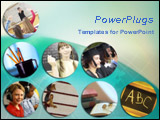 PowerPoint Template - An array of school, academic, education themed pictures over globe in teal blue background.