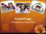 PowerPoint Template - adorable child studying with books and apple in the head
