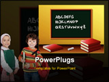 PowerPoint Template - Classroom illustration with blackboard desk and books