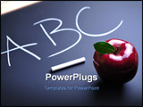 PowerPoint Template - Red apple chalk and ABC text on blackboard
