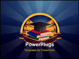 PowerPoint Template - education emblem: books scrolls and Master cap