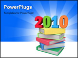 PowerPoint Template - Year 2010 on top of colorful books 3d illustration