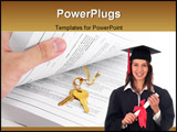 PowerPoint Template - open book and golden key, concept of success in education