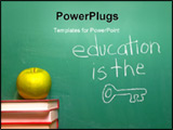 PowerPoint Template - Education is the Key written on a chalkboard.