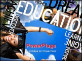 PowerPoint Template - n education montage or layout with photos and text of students and graduates. Plenty of copyspace f