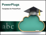PowerPoint Template - Cloud computing concept with chalkboard and graduation cap