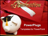 PowerPoint Template - Piggy bank with graduation cap � cost of education