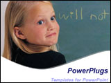 PowerPoint Template - Little girl in black at blackboard