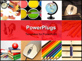 PowerPoint Template - Group of education theme people and objects